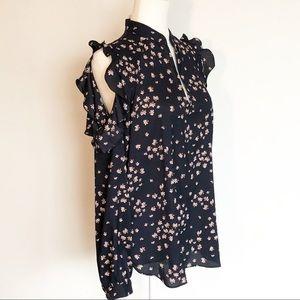 Ann Taylor ruffle cold-shoulder blouse. Navy print
